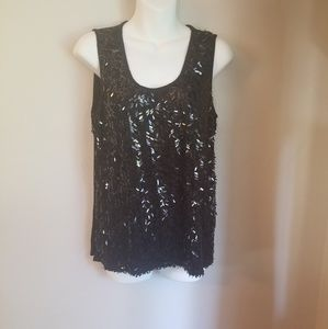 89th & Madison sequins black tank top size XL